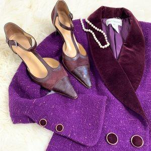 CHANEL Maroon velvet t strap heels size 41